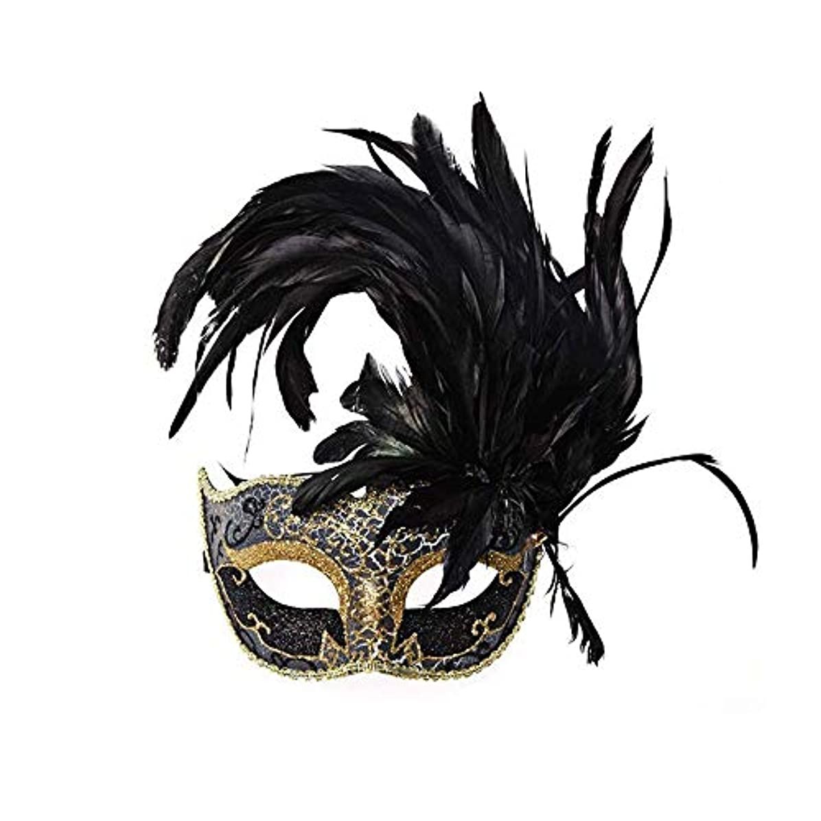 クアッガ有料夕暮れNanle ハロウィンマスクハーフフェザーマスクベニスプリンセスマスク美容レース仮面ライダーコスプレ (色 : Style A black)