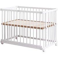 farska(ファルスカ) ベビーベッド 兼 ベビーサークル (新生児~乳幼児) 組み立て簡単 工具不要 (ベッドサイドベッド03 746128) ホワイト 柵の着脱で添い寝もできる
