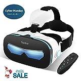 Canbor VRゴーグル VRヘッドセット 4-6.3インチ スマホ 対応 iPhone Samsung 3D 動画 ゲーム メガネ外観 Bluetoothコントローラ リモコン