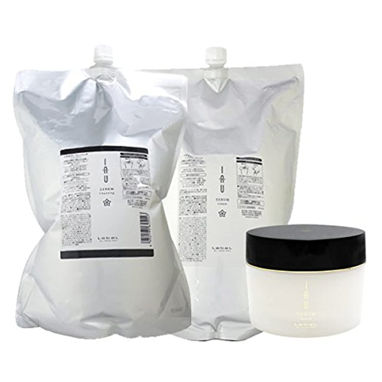 活発グリースどこにもルベル イオ セラム クレンジング(シャンプー) 2500mL + クリーム(トリートメント) 2500mL + マスク 170g 3点セット 詰め替え lebel iau serum
