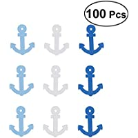 Vosarea 100Pcs Wooden Pendants Boat Anchor Shape Mixed Colors Home Embellishments Decorations