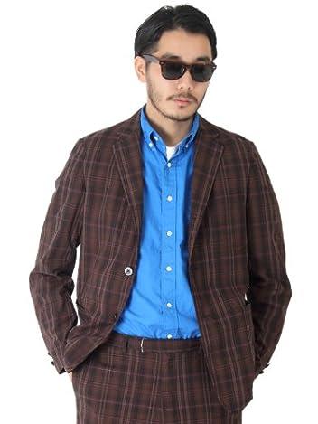 Dark Madras 3-button Blazer 11-16-0212-803: Light Brown