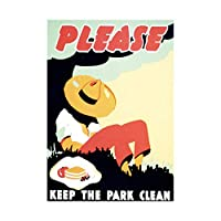 Park Clean Conservation Hat Picnic Vintage Retro Advert Framed Wall Art Print パークビンテージレトロ広告壁
