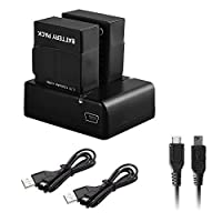 2x Battery with Rapid Dual USB Charger for GoPro Hero3 Hero3+ with Micro Mini USB Cables [並行輸入品]