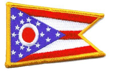 """The Flag of OHIO PATCH, Superior Quality Iron-On / Saw-On Embroidered Patch - Each one is individually carded and sealed in a professional retail package - 3.5"""" x 2.25"""" Inches - Made in the USA"""