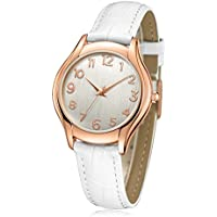 Wrist Watches for Women Stylish Simple Rose Gold Casual Classic Analog (Quartz) Watches with Genuine White Leather Band