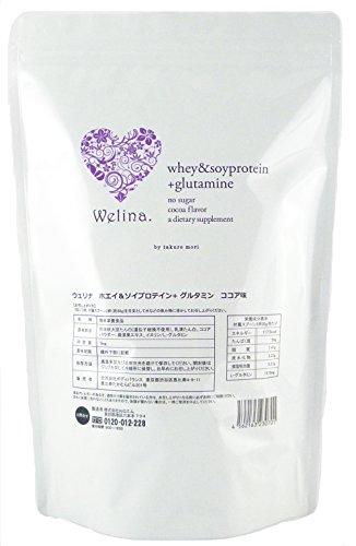 ウェリナ ホエイ&ソイプロテイン グルタミン ココア味 1kg