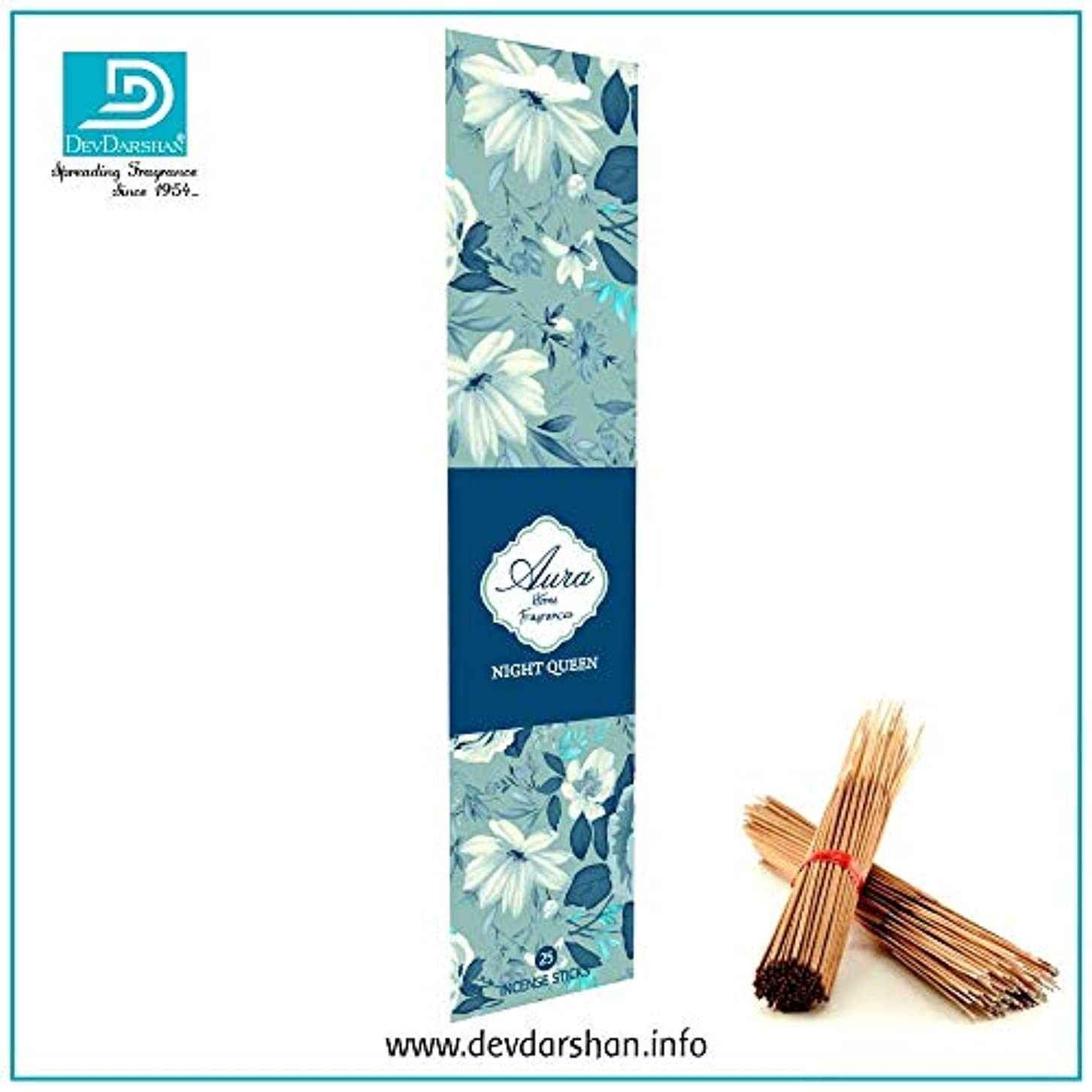 しつけ慰め干し草Devdarshan Aura Night Queen 3 Packs of 25 Incense Stick Each