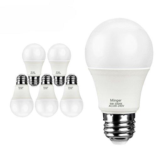 Minger LED 電球 60W形相当 E26口金 昼白色 5000K相当 消費電力9W 一般電球・広配光タイプ 6個セット