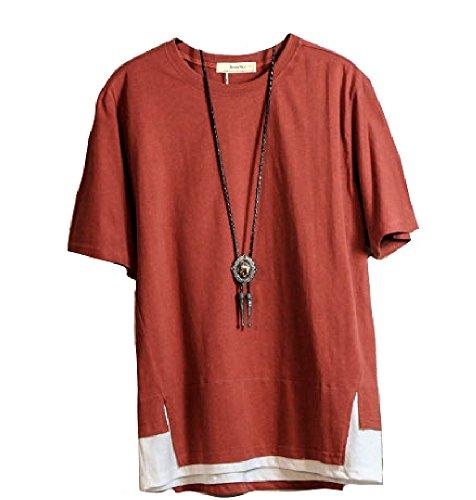 【 Smaids×Smile 】重ね着風 Tシャツ メンズ 半袖 春 夏 T シャツ ゆったり かっこいい おしゃれ 丈 (レッド, L)