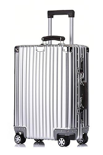 クロース(Kroeus)スーツケース キャリーケース アルミ‐マグネシウム合金ボディ 8輪 無段階調節 TSAロック搭載 仕切り板付き Sサイズ機内持ち可 防塵カバー付属 マット仕上げ 20 Silver