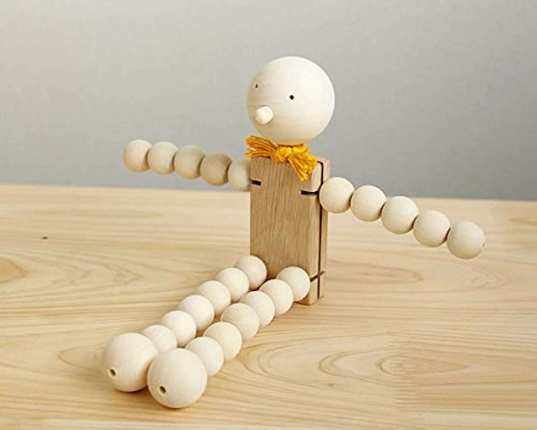 自然に触れて遊ぶ木のおもちゃ 津別木材工芸舎 木のおもちゃ タマコロファミリー L リボン 黄色