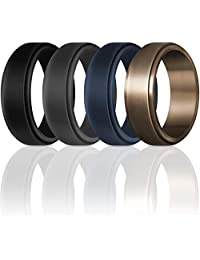 ThunderFit Silicone Wedding Rings for Men 7 Rings / 4 Rings / 1 Ring - Step Edge Sleek Design Rubber Engagement Bands