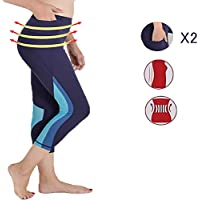 QUEEN FOREVER High Waist Yoga Pants with 2 Pockets Tummy Control Stretch Workout Hiking Tights Running Leggings Activewear