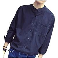 [パリド] 長袖 襟なし シンプル リネン シャツ 無地 S ~ 3XL メンズ