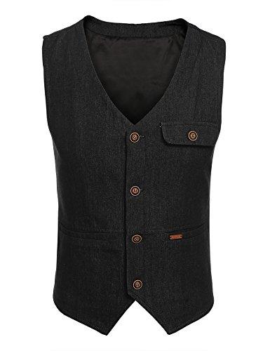 [해외](쿠 펀디) Coofandy 베스트 남성 데님 캐주얼 세련된 레이어드 블랙 네이비 4 가지 버튼 2 포켓 V 넥 미정있는 스키니 신사 멋진 S ~ XXL/(Kuufandi) Coofandy Best Men`s Denim Casual Fashionable Layered Black Navy 4 Buttons 2 Pocket V Neck w...