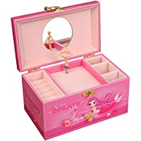 SONGMICS Ballerina Musical Jewelry Box for Little Girls Faux Leather Music Box with Pullout Drawer Pink Mermaid UJMC14PK