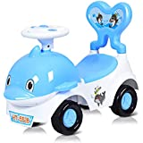 Baby 3in1 Rideon Car Toy for Kids Toddlers, Cartoon Pushing Cart with Sound Light, Safe Brake, Antifalling Backrest, Storage Seat, Walker Sliding Car for 1836 Months (Blue) zhaoyun (Color : Blue)