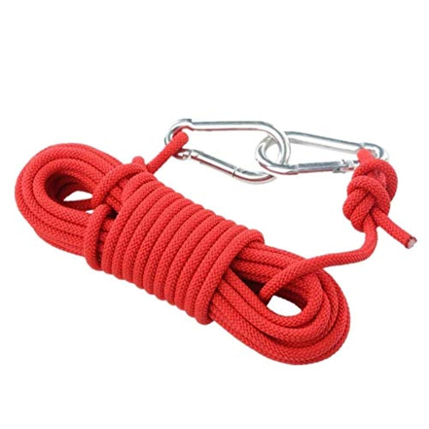 フォーム表現偽善登山ロープの家の火の緊急脱出ロープ、ハイキングの洞窟探検のキャンプの救助調査および工学保護のための多機能のコードの安全ロープ。 (Color : 赤, Size : 15m)