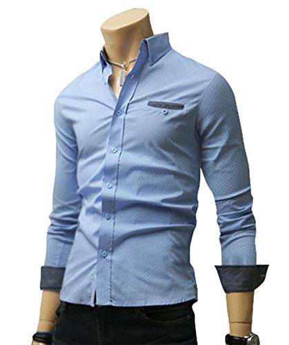 (UN ANANAS) クール ドット デザイン シャツ メンズ カジュアル 長袖 シャツ トップス M L XL 2XL 大きい サイズ (L スカイ)