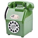 懐かし レトロ 風 ダイヤル式 公衆電話 型 おもしろ 貯金箱 緑 グリーン