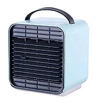 ミニ冷風扇 VICOODA usb扇風機 卓上 小型クーラー 加湿機能 空気清浄 夜間ライト 省エネ 静音作業 熱中症と暑さ対策 オフィス/寝室/車中に対応 USBケーブル付き (ブルー)