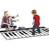 ミュージックマット 71インチ24キー巨大ジャンボサイズミュージカルキーボードプレイマット付きレコードプレイデモ調節可能なvol折りたたみ式フロアキーボードピアノダンス活動マットステップアンドプレイ幼児のための子供のおもちゃ子供のギフト キーボードプレイマット (色 : ブラック+ホワイト, サイズ : 70.8*29.1inches)