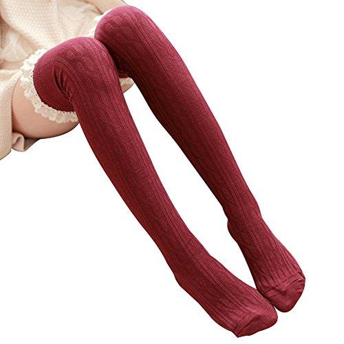 MacShowオーバーニーソックス 着圧 美脚セクシー フェイクタイツ ストッキング ニーハイニーソックス サイハイソックス 靴下ストレッチ5色 (ワインレッド)