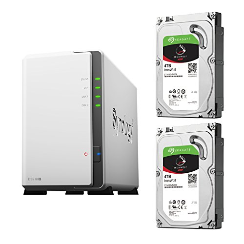 【NAS HDDセット】Synology DS218j & Seagate HDD [2ベイ / HDD IronWolf-4TBx2台同梱 / デュアルコアCPU搭載]