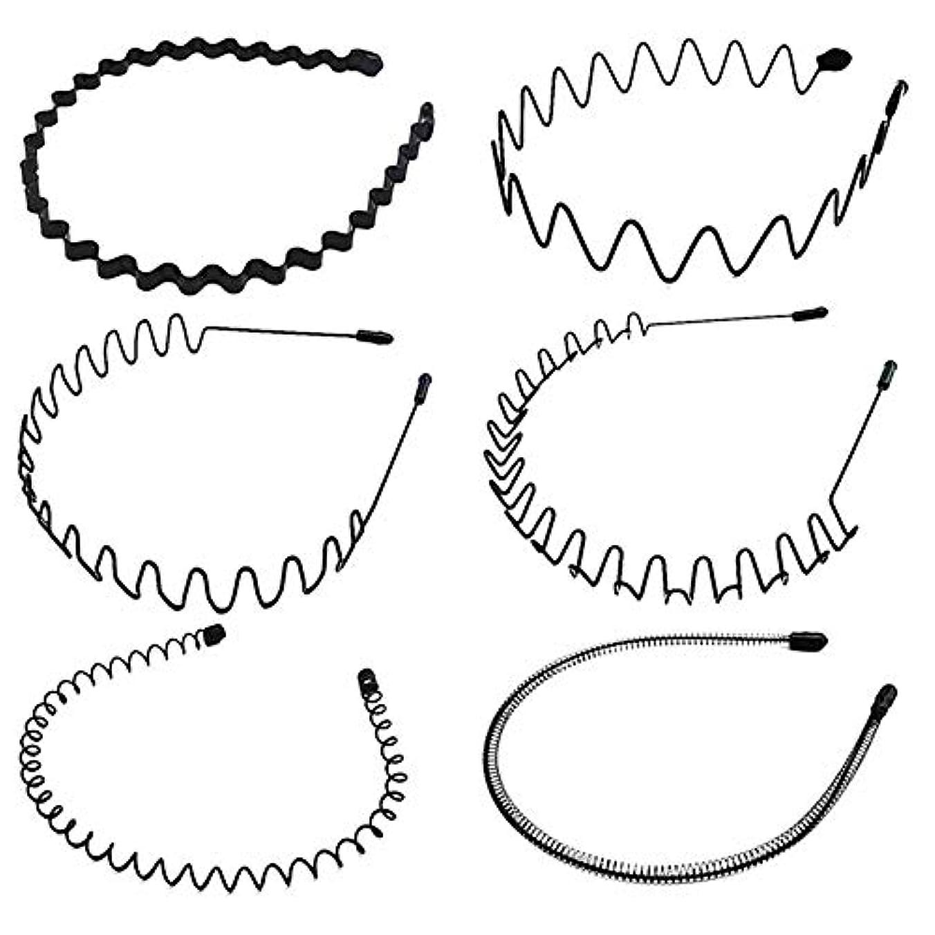 バウンス壮大真っ逆さまシンプル ウェーブ カチューシャ 5種類セット ヘアバンド メンズ レディース 男女兼用 髪留め ヘアアクセサリー 黒