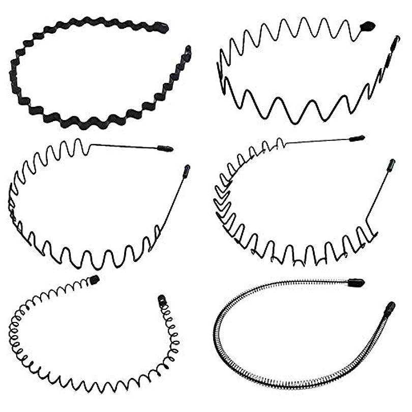 ワーディアンケースストリーム適切なシンプル ウェーブ カチューシャ 5種類セット ヘアバンド メンズ レディース 男女兼用 髪留め ヘアアクセサリー 黒