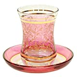トルコ製チャイグラス CB-189 金彩装飾 リーフ柄/ピンク(1客)