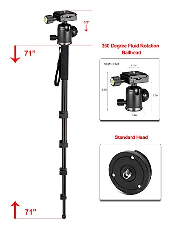 アーサーコナンドイル設計愚かなプロフェッショナル 高耐久 72インチ 一脚/一脚 (デュアルオプションヘッド) Leica D-LUX (Typ 109) 用