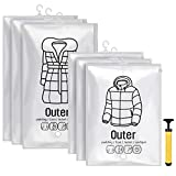 OTraki [6枚セット] 衣類圧縮袋 吊るせる エアーポンプ付き 真空式 耐久性よい 圧縮パック ファスナー付き 防塵 防湿 収納袋 透明 省スペース 再利用可能 家庭用