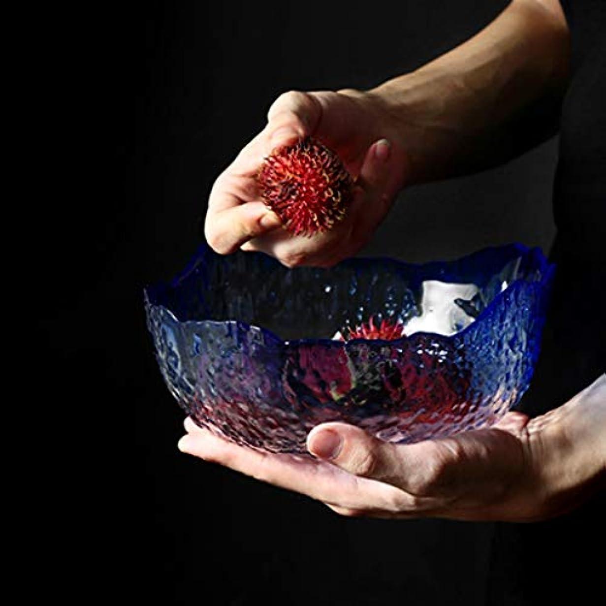 連結する巨人居心地の良いRL-ボウル 日本のハンマーパターン透明ガラスボウルカトラリー家庭用大不規則な果物と野菜のサラダボウル (Color : C)