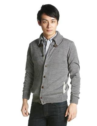 12-gauge Wool Spanish Collar Cardigan Sweater 1228-117-0150: Mid Grey