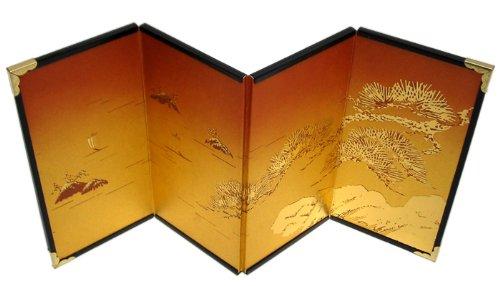 ミニ屏風 4曲屏風#5-金雲 松島/高さ15cm
