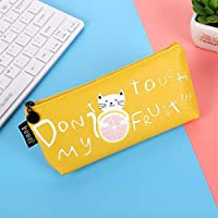 Hosaire 1Pcs City Series Pen Pouch Cute Cat Cartoon Fruit Canvas Pencil Bag Makeup Pouch Students Stationery Office Supplies (Yellow) [並行輸入品]