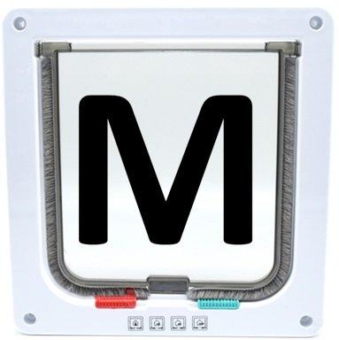 選べる カラー 4WAY ペット キャット ドア 小型 犬 猫 屋内 勝手口 扉 ペット用品 (ホワイト(M))