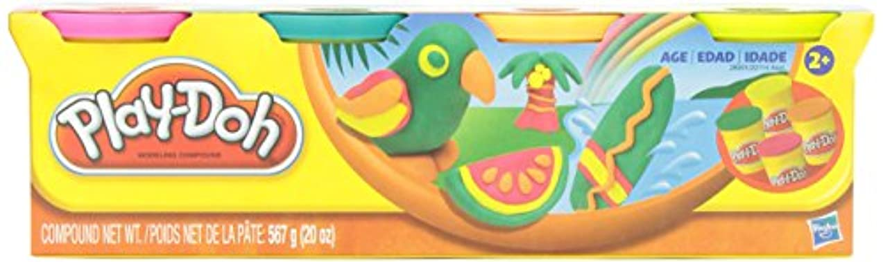 Play-Doh Classic Tropical Colors 4 Can Pack Arts & Crafts 20oz. by Play-Doh