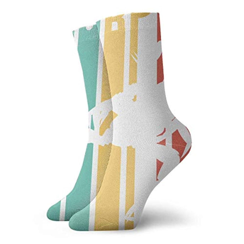 ソースモック誕生日QRRIYノベルティデザインクルーソックス、レトロサソリシルエット、クリスマス休暇クレイジー楽しいカラフルな派手な靴下、冬暖かいストレッチクルーソックス