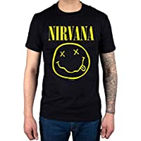 AWDIP Men's Official Nirvana Smiley T-Shirt Rock Band Alternative Kurt Cobain