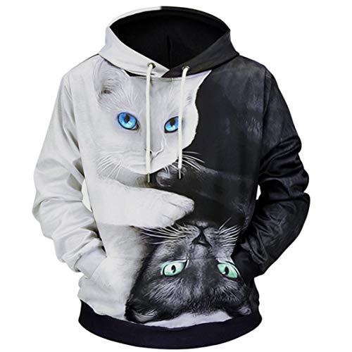 歳末ビッグセール スウェットパーカー 3Dプリント 猫 メン...