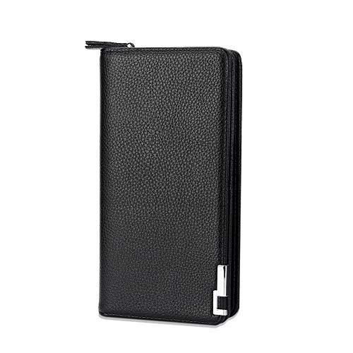 長財布 メンズ 二つ折り財布 本革 大容量 人気 ボックス型小銭入れ 薄い ブラック 多機能 ラウンドファスナーDSGUAN (ブラック)