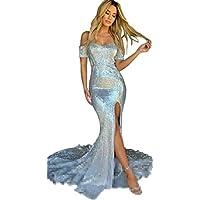 JONLYC Women's Shiny Off-Shoulder Mermaid Long Prom Evening Dress with Slit