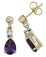 9K 9金イエローゴールド レディース 女性 ダイヤモンド ドロップピアス 0.10 カラット アメジスト(紫水晶) - 13mm*5mm WQS31669KY