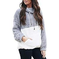 Damissly Women's Color Block Fuzzy Pullover Sweatshirts Sherpa Lapel Winter Coat Fluffy Jumpers Warm Outwear Loose Casual