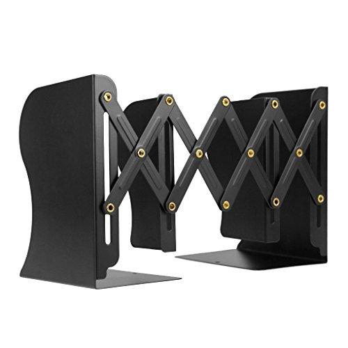 FSDUALWIN 本立て ブックスタンド 伸縮型 金属製 卓上収納 ファイル/雑誌/書類/CD入れ ブックエンド 仕切りスタンド 頑丈 オシャレ 書斎、オフィス、卓上の整理、整頓 事務用品 ブラック