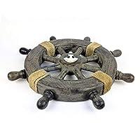 素朴なグレーNauticalヴィンテージテーマクラシックWooden Ship Wheel withアンカー&ロープ|オーシャンビーチハウスホームインテリア| Nagina International 42 Inches junkanc7