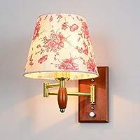 Chuiqingwang 現代のシンプルな壁ランプ寝室通路ベッド調節可能なロッカーランプ赤無垢材 (Color : A)